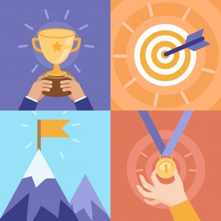 플랫: 벡터 성공 개념 - 그릇, 목표, 메달, 정상 회담 - 플랫 스타일 아이콘과 그림 일러스트
