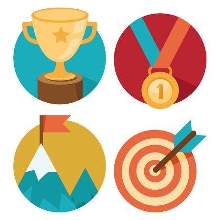 termine: Vector Erfolgskonzepte - Schüssel, Ziel, eine Medaille, Gipfel - Symbole und Abbildungen in flachen Stil