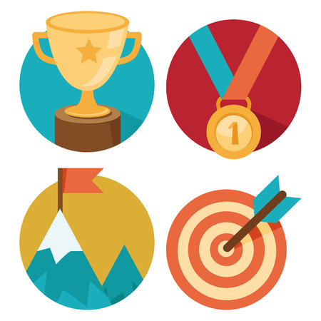 reward: Vector success concepts - bowl, goal, medal, summit - icons and illustrations in flat style