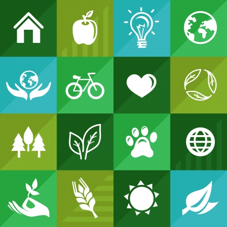 go green: Vector ecology icons and signs in flat retro style - go green