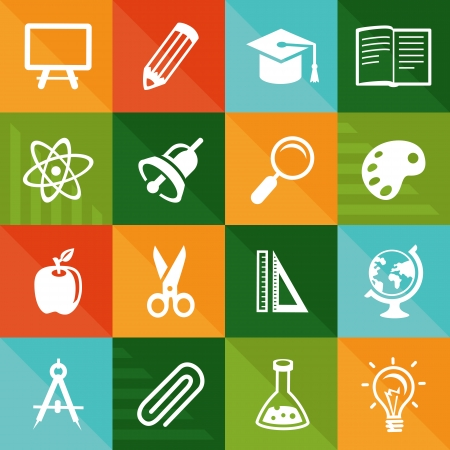 science icons: Vector flat icons - education and science signs and symbols