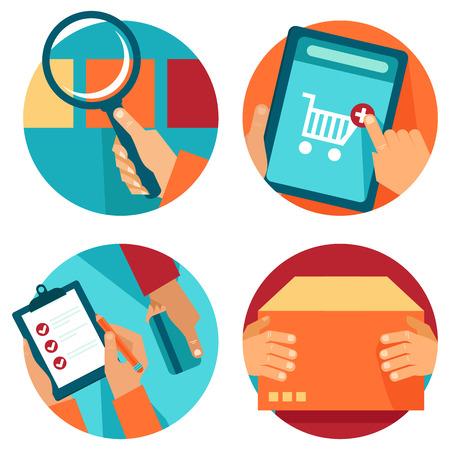 Vector internet winkelen pictogrammen in vlakke stijl - zoeken, orde, betalen, leveren