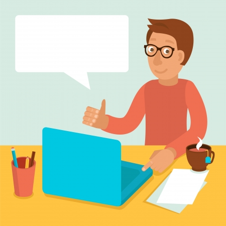 Vector character wearing glasses and working on his laptop in flat retro style Vector