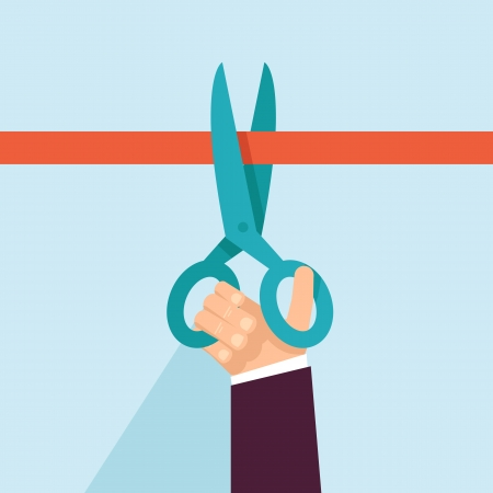 Vector concept in flat retro style - hand holding scissors and cutting red ribbon