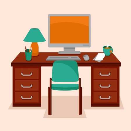office cabinet: Vector workspace concept - table and computer in flat retro style Illustration
