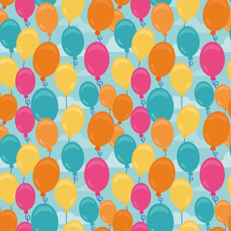 Vector seamless pattern with balloons - greeting card background in flat syle Vector