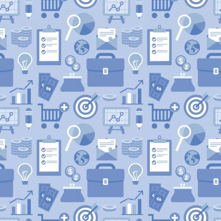 Vector seamless pattern in flat style with business and finance icons and signs in blue color Stock Vector - 23160910