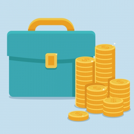 Bag of gold coins: Vector business and finance concept in flat style - coins and portfolio Hình minh hoạ