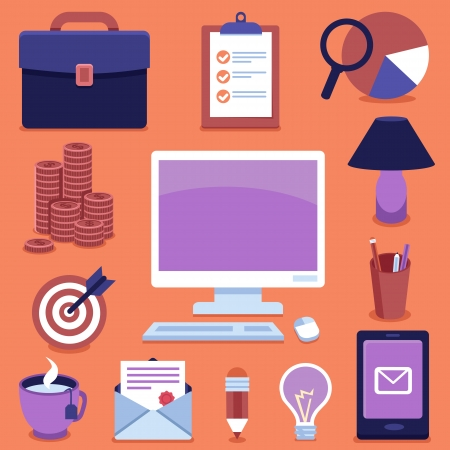 freelance: Vector freelance business icons and signs - infographics design elements in flat style