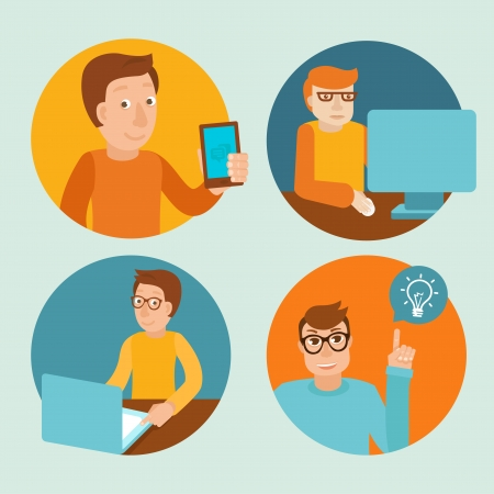 Vector characters working at computers - in flat retro style Stock Vector - 23366196