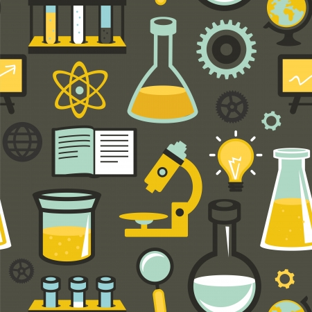 Vector seamless pattern in flat style - science and education - test tubes and chemistry elements Vector