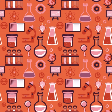 vial: Vector seamless pattern in flat style - science and education