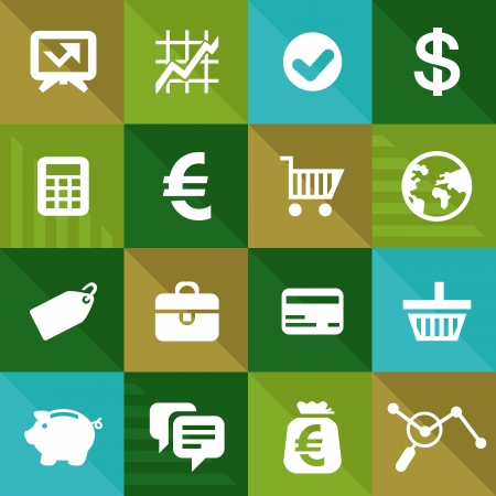 commerce: Vector finance and business icons in flat style - commerce design elements