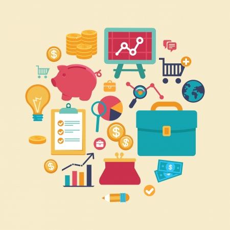 Finanzas Vector y concepto de negocio - iconos y signos planas