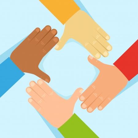 tolerancia: Tolerancia Vector y el concepto de red - la mano del hombre en el estilo plano