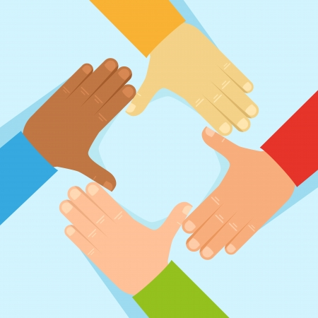 four friends: Vector tolerance and network concept - human hands in flat style Illustration