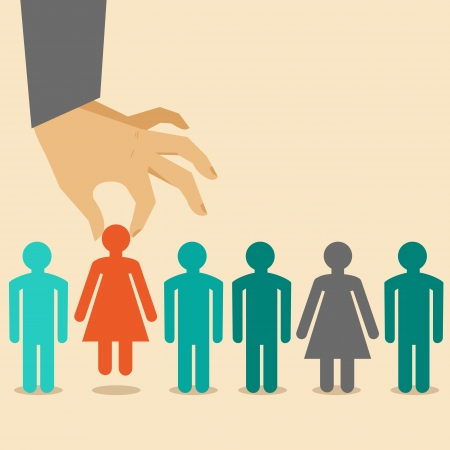 choose person: Vector  human resources concept  - hand holding woman icon - in flat style