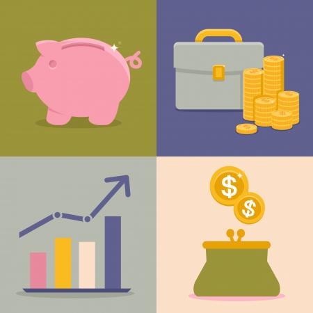 Vector financiën en besparingen pictogrammen in vlakke stijl - spaarpot en munten Stock Illustratie