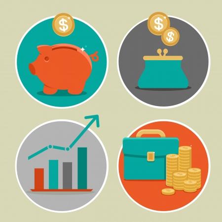 Vector geld en zakelijke iconen in vlakke stijl - infographic design elementen