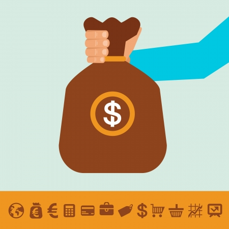 hand holding money bag: Vector Illustration
