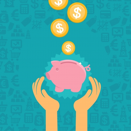 save money: Vector piggy bank concept in flat style - money savings