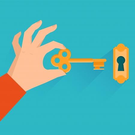 Vector onroerend goed concept - hand houden gouden sleutel in vlakke stijl