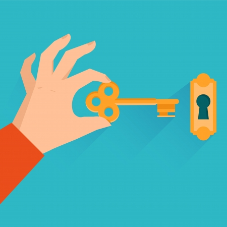 Vector real estate concept - hand holding golden key in flat style Çizim