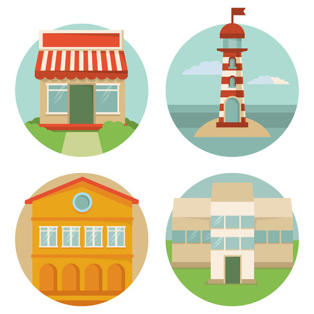 sea mark: Vector building icons - round emblems with illustrations in flat retro style