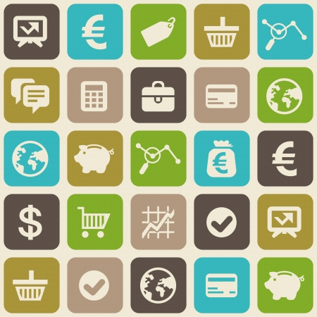 Vector seamless pattern with finance and business icons in flat style  Vector