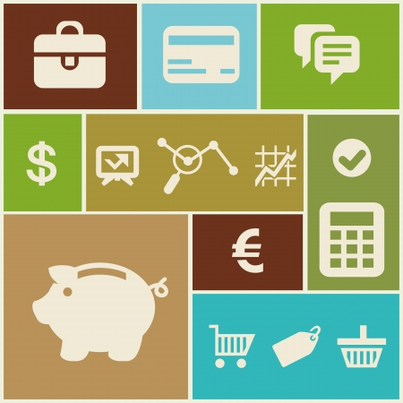 Vector business and finance icons and signs in flat style Vector