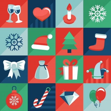 navidad: Vector christmas icons and signs in retro flat style - greeting card design elements