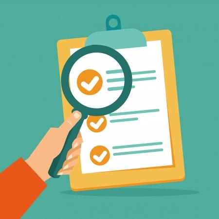 contratos: Vector contrato busienss y lupa - el an�lisis de documentos - concepto en estilo plano