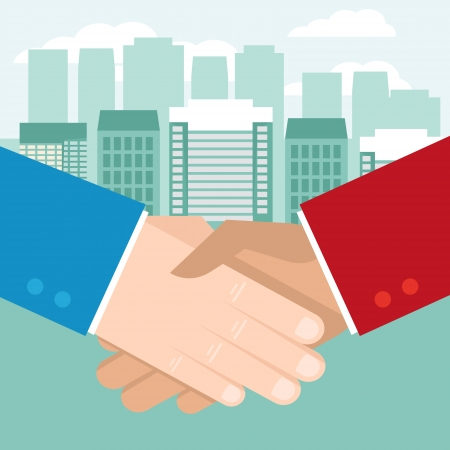 Vector business concept in flat style - hand shake and coins Vector