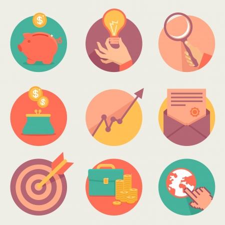 Vector zakelijke en financiële iconen en teken in vlakke stijl