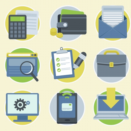 api: Vector online business icons and illustrations in flat modern style Illustration