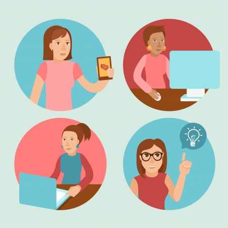 Vector characters working at computers - in flat retro style - women and girls Stock Vector - 24537353