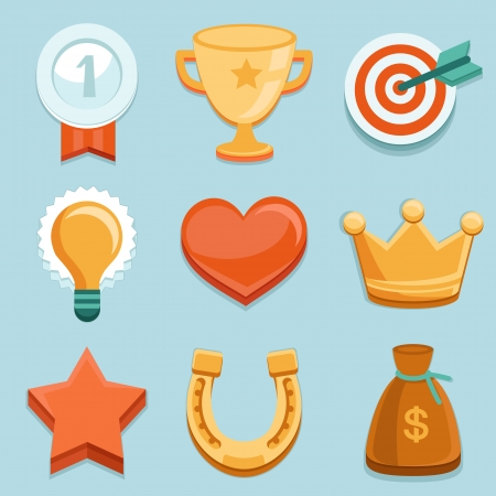 golden horseshoe: Vector icons in flat style - new trend in online business - gamification  Design elements and icons with rewards and achievement badges