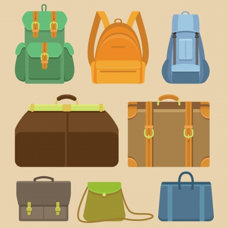 Vector set of flat icons - bags, backpacks and cases Stock Vector - 24749177