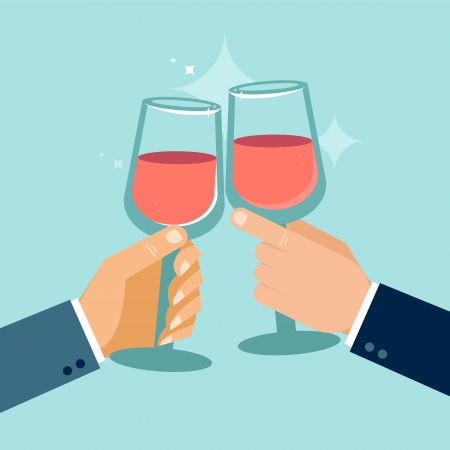 festive occasions: Vector concept in flat style - hands holding glasses - success celebration