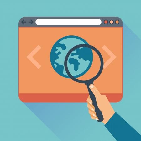 평면 개념 - 웹 사이트 코드 최적화 및 웹 프로그래밍 과정의 아이콘 - 벡터 현대 그림
