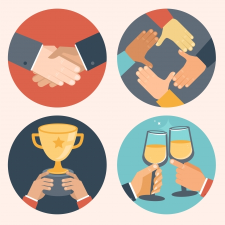 플랫: 플랫 스타일에서 벡터의 개념 - 제휴 및 협력 비즈니스 아이콘 - 악수, 협력, 승리 축하 일러스트