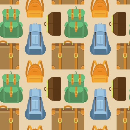 Vector seamless pattern in flat style with bag and backpack icons - travel background Vector