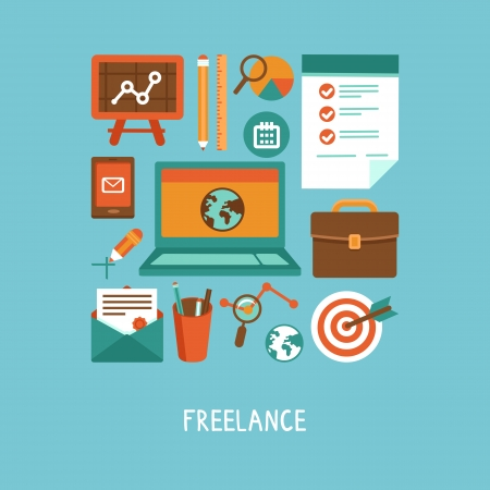 job offers: Vector freelance work concept - icons and sign in flat style Illustration