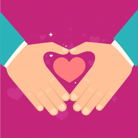 hands holding heart: Vector valentine day greeting card in flat style - male hands holding heart in flat style