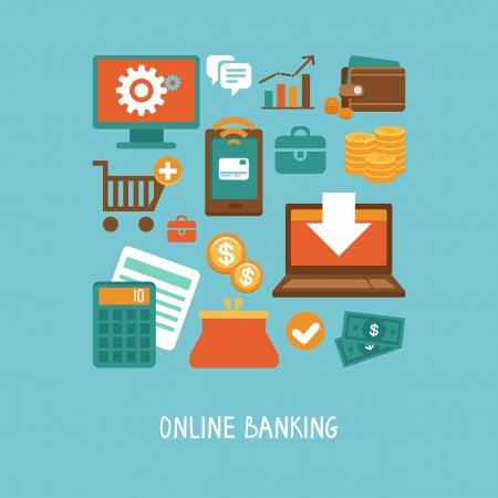 バンキング: フラット スタイル - オンライン銀行やビジネス - アイコンのベクトルの概念とインター ネット ショッピング、e コマースの標識  イラスト・ベクター素材