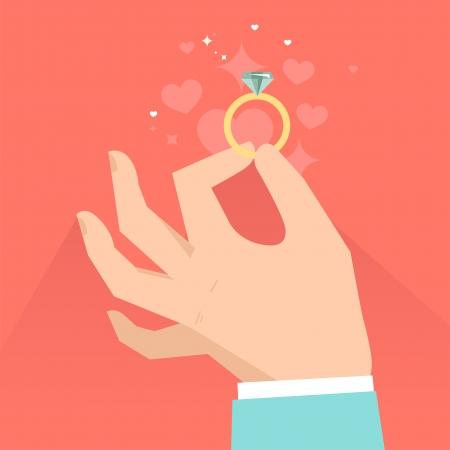 Vector día de san valentín tarjeta de felicitación en estilo plano - manos masculinas sosteniendo el anillo de compromiso en el estilo plano