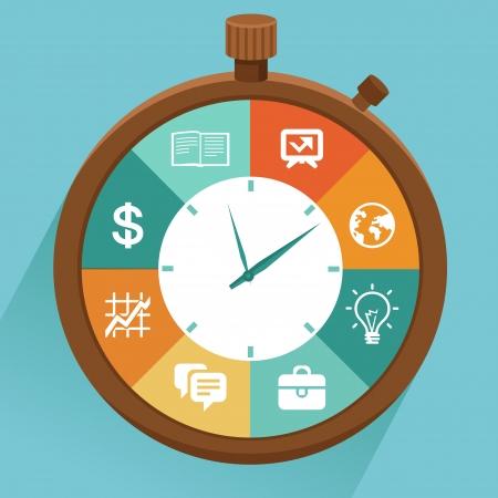 cronometro: Vector concepto plana - la gesti�n del tiempo moderna ilustraci�n con el cron�metro y los iconos - c�mo controlar tu vida