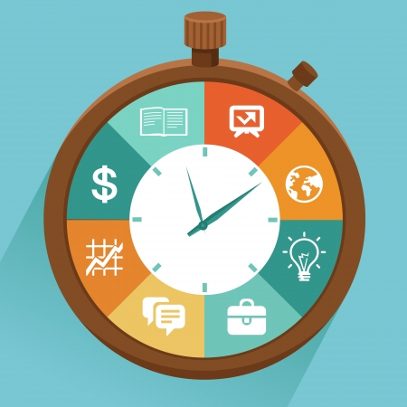 stopwatch: Vector flat concept - time management  Modern illustration with stopwatch and icons - how to control your life