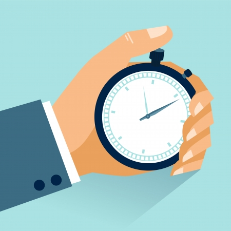 Time management  Vector modern illustration in flat style with male hand holding stopwatch Çizim