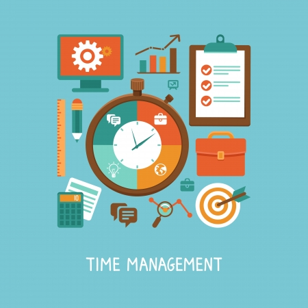 el tiempo: Concepto del vector en estilo plano - Iconos de gestión del tiempo y los signos - la organización de la vida y el flujo de trabajo Vectores